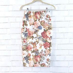 Tobi Floral Midi Skirt
